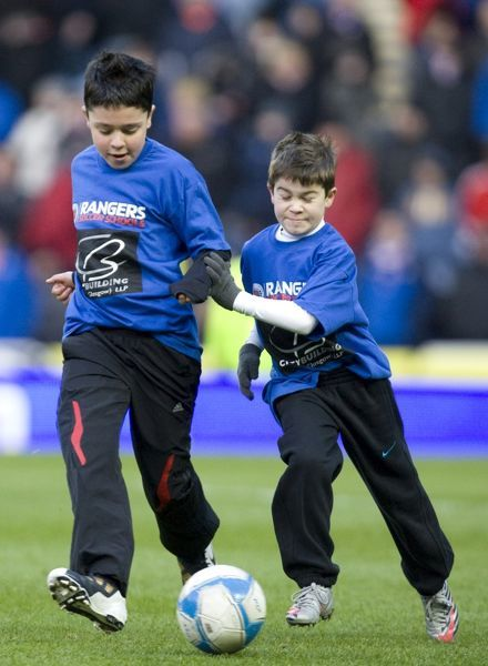rangers soccer schools on the pitch at half time