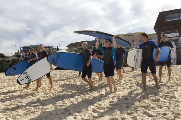 EXCLUSIVE - Rangers' players (L-R) Lee McCulloch, Steven Whittaker, Steven Naismith, John Fleck, Andrew Little and Jamie Ness go surfing on Bondi Beach