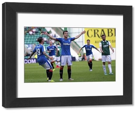 Rangers' Andy Halliday celebrates his goal during the first round tie of the Pertrofac Training Cup at Easter Road, Edinburgh