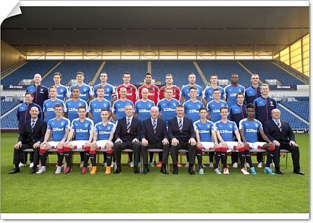 The Rangers team for season 2015-16.     (back row L- R) Masseur David Lavery,Ryan Hardie,Rob Kiernan,Captain Lee Wallace,Liam Kelly,Wes Foderingham,Cammy Bell,Danny Wilson,Dominic Ball,Nathan Oduwa,Physio Steve Walker     (middle row L - R)