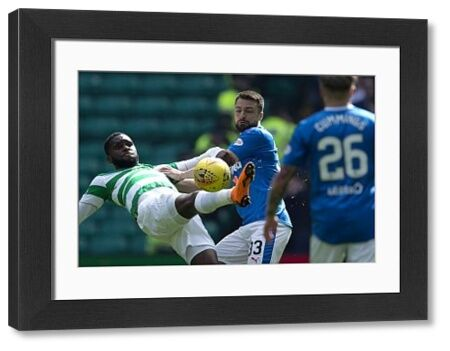 Rangers' Russell Martin challenges Celtic's Odsonne Edouard during the Ladbrokes Premiership match at Celtic Park, Glasgow
