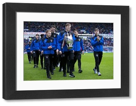 Rangers U17 parade the Glasgow Cup during the Ladbrokes Premiership match at Ibrox Stadium, Glasgow