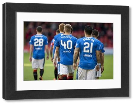 Rangers players walk out the tunnel for the Ladbrokes Premiership match at Pittodrie Stadium, Aberdeen