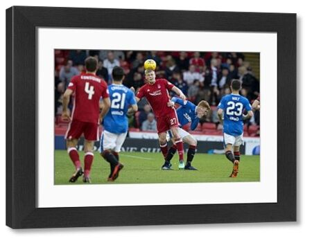 Rangers' David bates holds his face after he was elbowed off Aberdeen's Sam Cosgrove during the Ladbrokes Premiership match at Pittodrie Stadium, Aberdeen