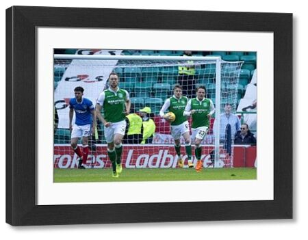 Hibernian's Scott Allan (no23) celebrates his goal during the Ladbrokes Premiership match at Easter Road, Edinburgh