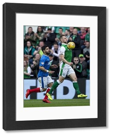 Rangers' Daniel Candeias and Hibernian's Steven Whittaker during the Ladbrokes Premiership match at Easter Road, Edinburgh