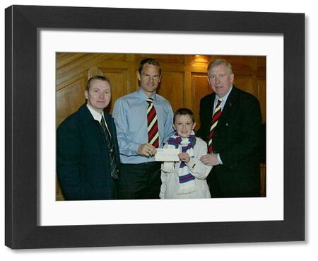 Charity cheques presentation with John Greig and Frank de Boer
