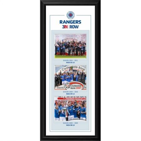 "RANG439 - Rangers SPL Champions 3 in a row montage framed print. Size: 26x11"" (626x238mm)"
