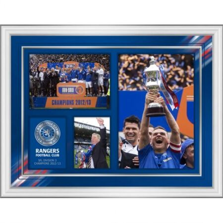 "SFL 3 Champions Celebration 16x12"" Montage Print Framed in a modern silver moulding 466x365mm RANG700"