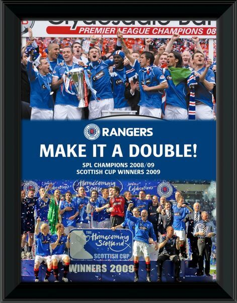"RNGR172 - ""Make it a Double!"" Framed 16x12"" (406x305mm) SPL Champions 08/09 & Scottish Cup Winners 09 Celebration Montage"
