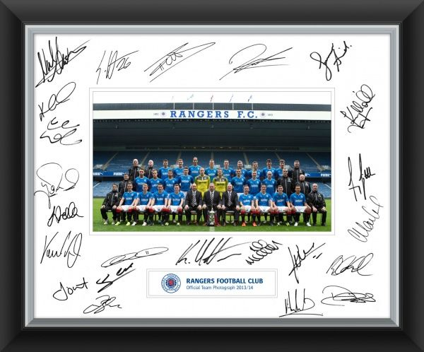 The official Season 2013/14 Rangers team photograph includes up to 20 signatures of the first team squad including......... Lee McCulloch, Ian Black,,Jon daly, Cammy Bell, Andrew Little, Nicky Law, and more.....   A very special piece of memorabilia