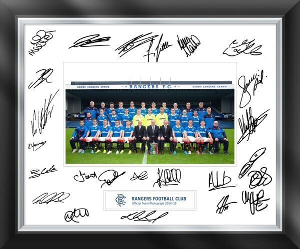 The official Season 2014/15 Rangers team photograph includes up to 20 signatures of the first team squad including......... Lee McCulloch, Ian Black,,Jon daly, Cammy Bell, Andrew Little, Nicky Law, and more.....   A very special piece of memorabilia