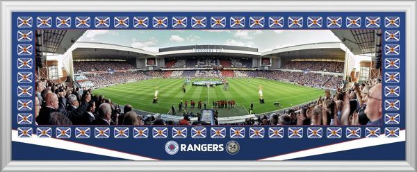 This fantastic panoramic picture shows the celebrations when Rangers unfurled the 54th league win, a world record! Also depicted are the 54 league flags which take pride of place in the Rangers trophy room