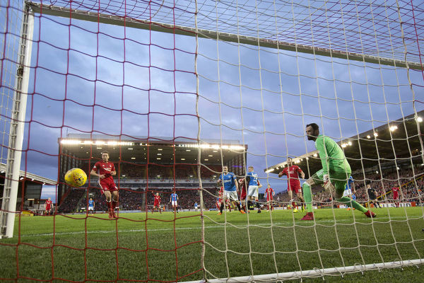 Rangers' Ross McCrorie scores with his head during the Ladbrokes Premiership match at Pittodrie Stadium, Aberdeen