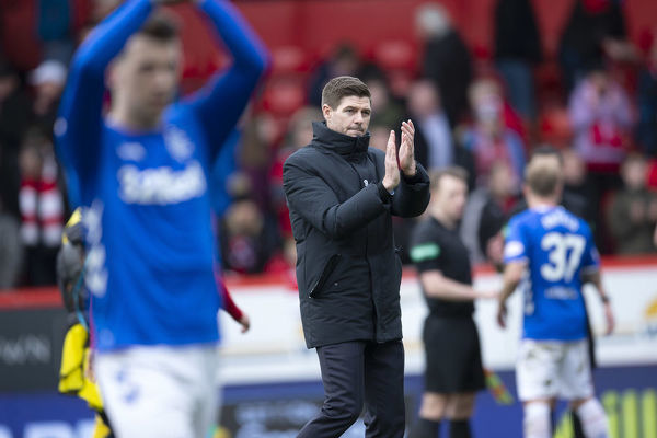Rangers Manager Steven Gerrard applauds the fans at the end of the Scottish Cup match at Pittodrie Stadium, Aberdeen