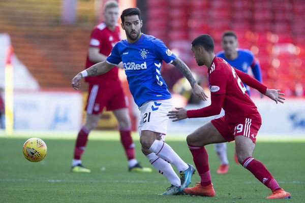 Rangers' Daniel Candeias controls the ball from Aberdeen's Max Lowe during the Scottish Cup match at Pittodrie Stadium, Aberdeen
