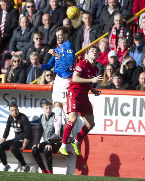 Rangers' Borna Barisic jumps for the ball during the Scottish Cup match at Pittodrie Stadium, Aberdeen