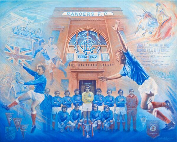 Helen Runciman is a full-time professional artist based in Denny, Stirlingshire, Scotland. A LIFELONG RANGERS FAN,Helen has produced fantastic pieces of art for Rangers football club, some of which take pride of place AT THE TOP OF THE MARBLE STAIRCASE
