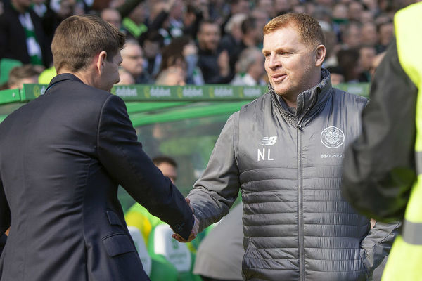 Rangers Manager Steven Gerrard shakes hands with Celtic Manager Neil Lennon during the Scottish Premiership match at Celtic Park, Glasgow