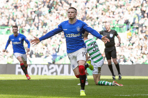 Rangers' Ryan Kent celebrates his goal during the Scottish Premiership match at Celtic Park, Glasgow
