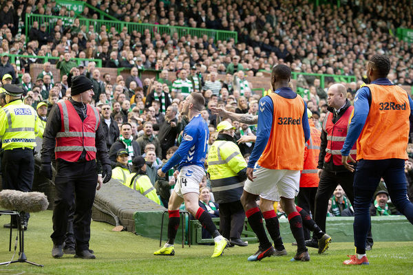 Rangers' Ryan Kent celebrates his goal in front of the traveling fans during the Scottish Premiership match at Celtic Park, Glasgow