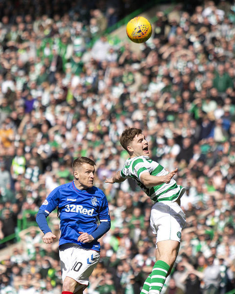 Rangers' Steven Davis and Celtic's James Forrest during the Scottish Premiership match at Celtic Park, Glasgow