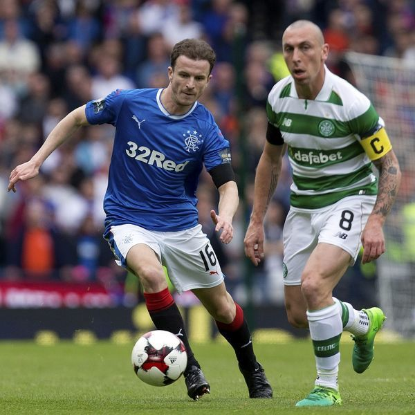 Rangers' Andy Halliday chases Celtic's Scott Brown during the Scottish Cup semi final at Hampden Park, Glasgow