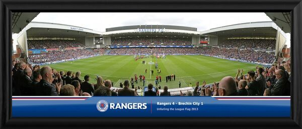 A quality framed panoramic print of the first game of the season, supplied ready to hang. Overall size 822x348mm