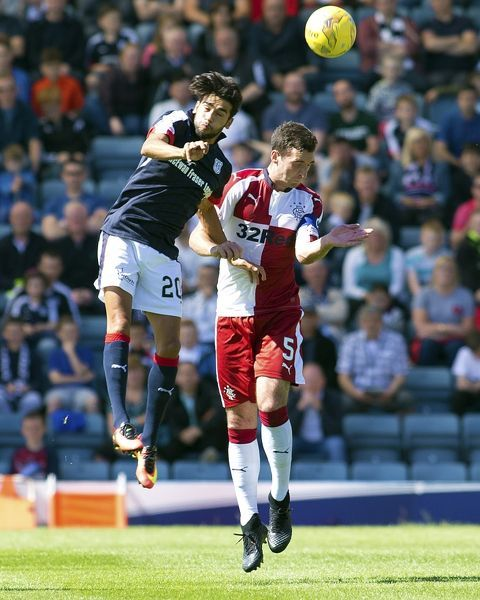 Rangers captain Lee Wallace and Dundee's Faissal El Bakhtaoui during the Ladbrokes Premiership match at Dens Park, Dundee
