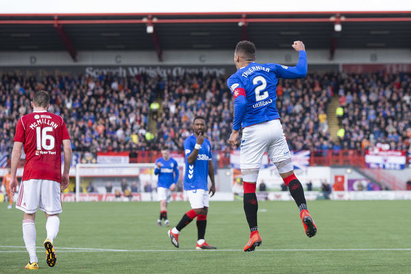 Rangers captain James Tavernier celebrates his goal from the penalty spot during the Scottish Premiership match at the Hope CBD Stadium, Hamilton
