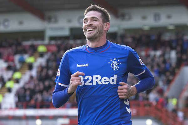 Rangers' Kyle Lafferty celebrates his goal during the Scottish Premiership match at the Hope CBD Stadium, Hamilton