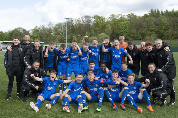 Rangers U18 and staff celebrate winning the league title after beating Hearts 3-1 at the Oriam, Edinburgh
