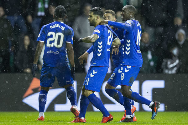 Rangers' Daniel Candeias celebrates his goal with his team mates during the Scottish Premiership match at Easter Road, Edinburgh
