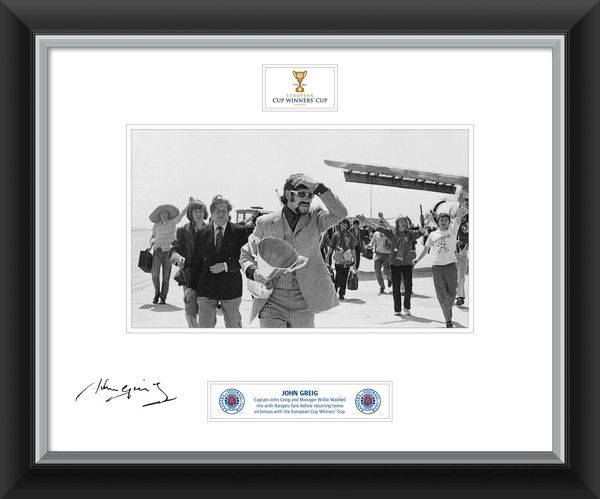 John Greig Signed and Framed Print with Cup Winners Cup at airport ...