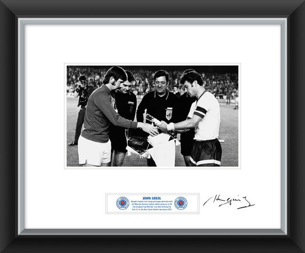 John Greig Signed and Framed Print Exchanging Pennants - Rangers ...