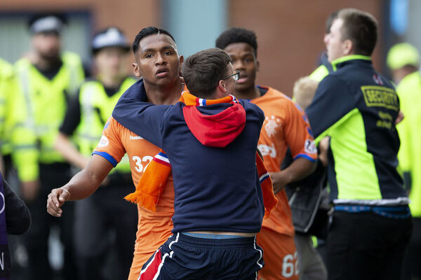Rangers' Alfredo Morelos celebrates his goal with the fans during the Scottish Premiership match at Rugby Park, Kilmarnock