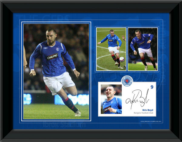 "Kris Boyd Framed Player Profile, Season 2008-09 (2 Sizes) Available sizes: RNGR165 - 16x12"" (406x305mm) RNGR166 - 8x6"" (203x152mm)"