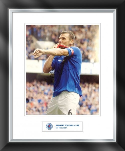 Team captain Lee McCulloch has signed this goal celebration print against Elgin city. Frame size = 588x486mm