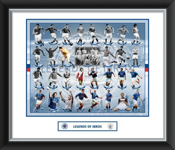 "A great framed and mounted photographic product featuring the Rangers Greats! Quality frame and a stunning collectors item. 610x508mm (24x20"") RANG 462"