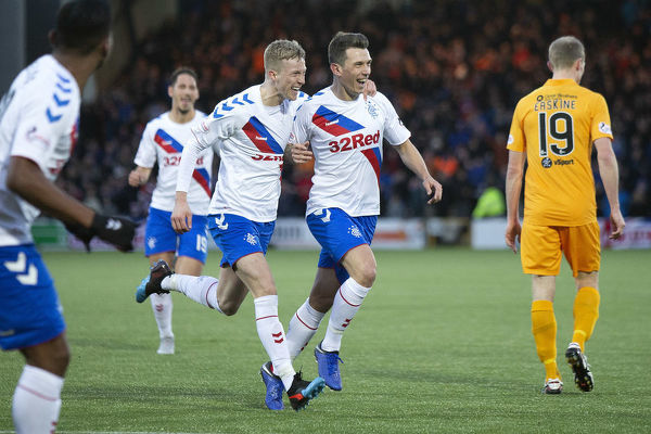 Rangers' Ryan Jack celebrates his goal with Ross McCrorie during the Scottish Premiership match at The Tony Macaroni Arena, Livingston