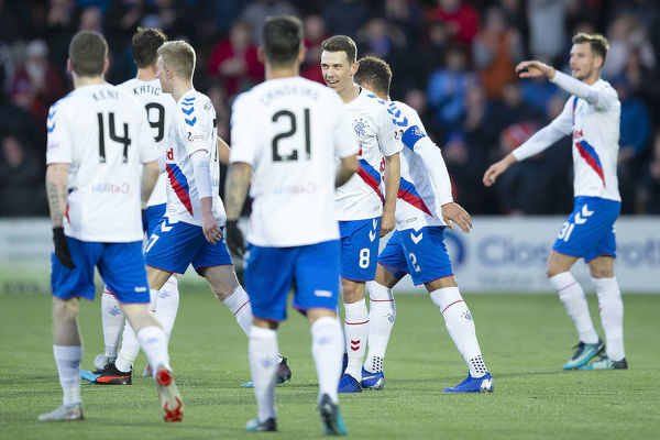Rangers' Ryan Jack celebrates his goal with his team mates during the Scottish Premiership match at The Tony Macaroni Arena, Livingston
