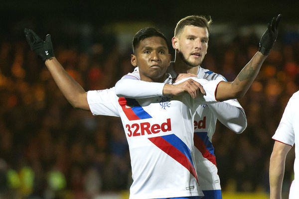 Alfredo Morelos celebrates his goal with his team mate Borna Barisic during the Scottish Premiership match at The Tony Macaroni Arena, Livingston