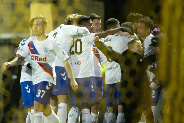 Rangers' Ryan Kent celebrates his goal with his team mates during the Scottish Premiership match at The Tony Macaroni Arena, Livingston