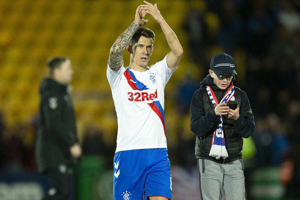 Rangers' Ryan Jack applauds the fans at the end of the Scottish Premiership match at The Tony Macaroni Arena, Livingston