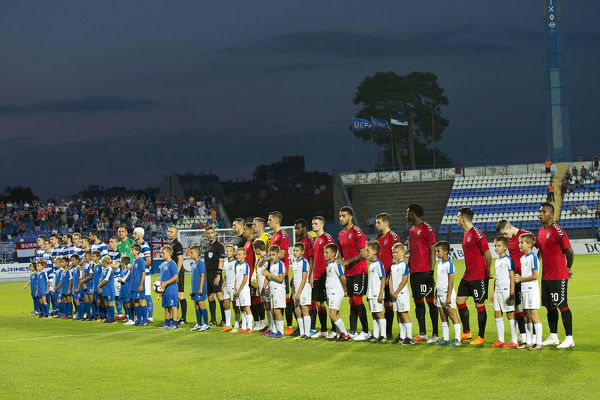 Rangers and NK Osijek players line up during the Europa League Qualifying match at the Stadion Gradski