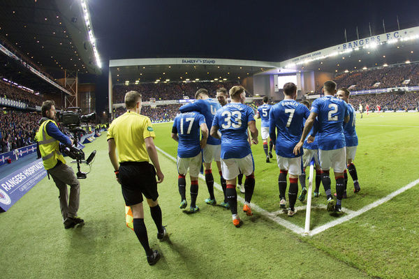Rangers' Lee Hodson (no17) celebrates his goal with his team mates during the Ladbrokes Premiership match at Ibrox Stadium, Glasgow