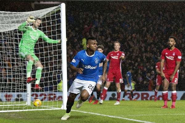 Rangers' Alfredo Morelos celebrates his goal during the Ladbrokes Premiership match at Ibrox, Glasgow