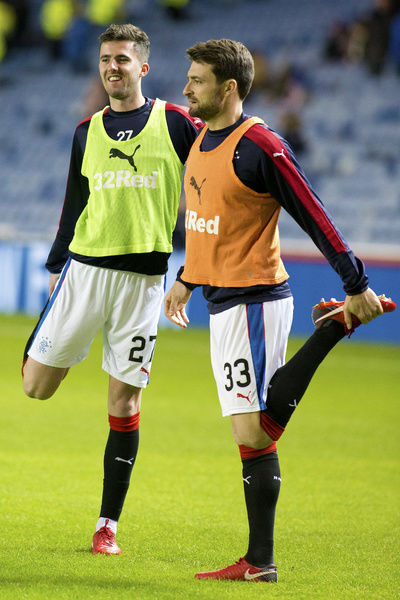 Rangers' Sean Goss & Russell Martin during the Ladbrokes Premiership match at Ibrox, Glasgow