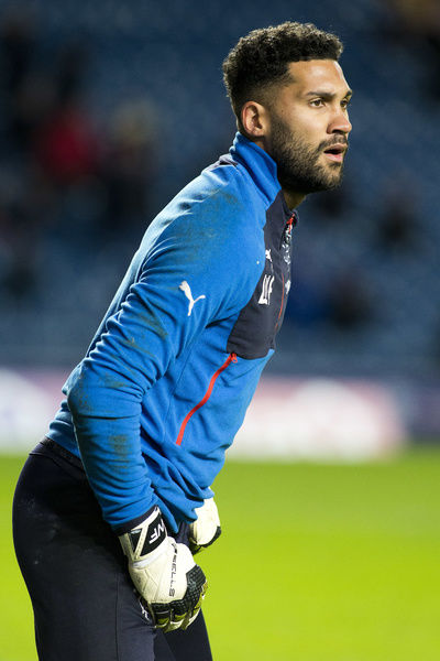 Rangers goal keeper Wes Foderingham during the Ladbrokes Premiership match at Ibrox, Glasgow