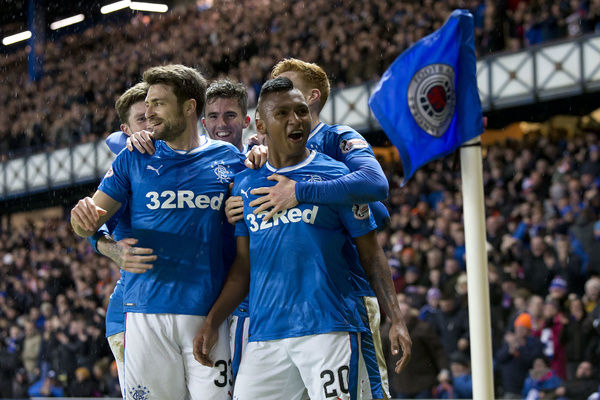 Rangers' Alfredo Morelos celebrates his goal with his team mates during the Ladbrokes Premiership match at Ibrox, Glasgow